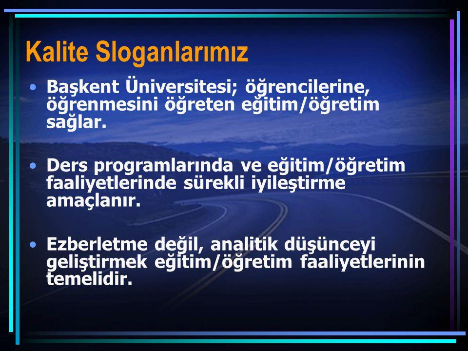 Kalite Sloganlarımız Başkent Üniversitesi; öğrencilerine, öğrenmesini öğreten eğitim/öğretim sağlar.