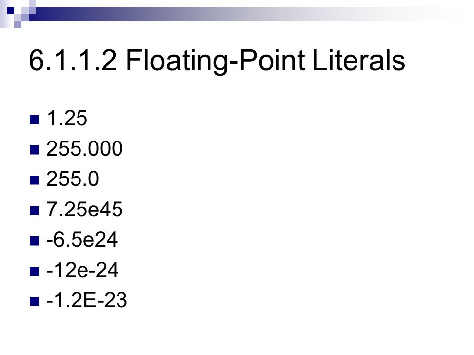 6.1.1.2 Floating-Point Literals