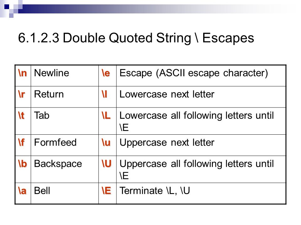 6.1.2.3 Double Quoted String \ Escapes
