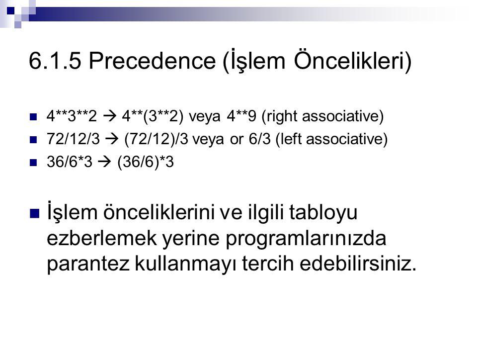 6.1.5 Precedence (İşlem Öncelikleri)