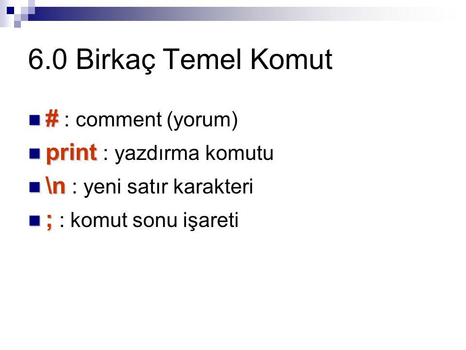 6.0 Birkaç Temel Komut # : comment (yorum) print : yazdırma komutu