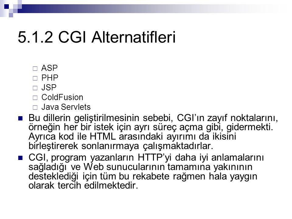 5.1.2 CGI Alternatifleri ASP. PHP. JSP. ColdFusion. Java Servlets.