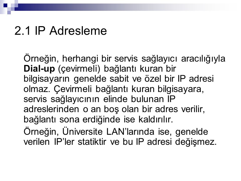 2.1 IP Adresleme