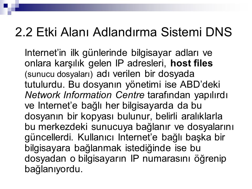 2.2 Etki Alanı Adlandırma Sistemi DNS
