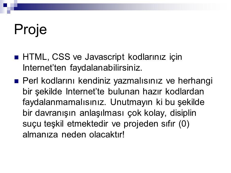 Proje HTML, CSS ve Javascript kodlarınız için Internet'ten faydalanabilirsiniz.