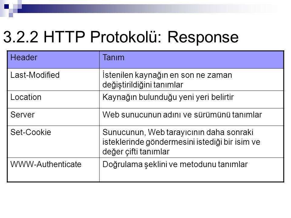 3.2.2 HTTP Protokolü: Response