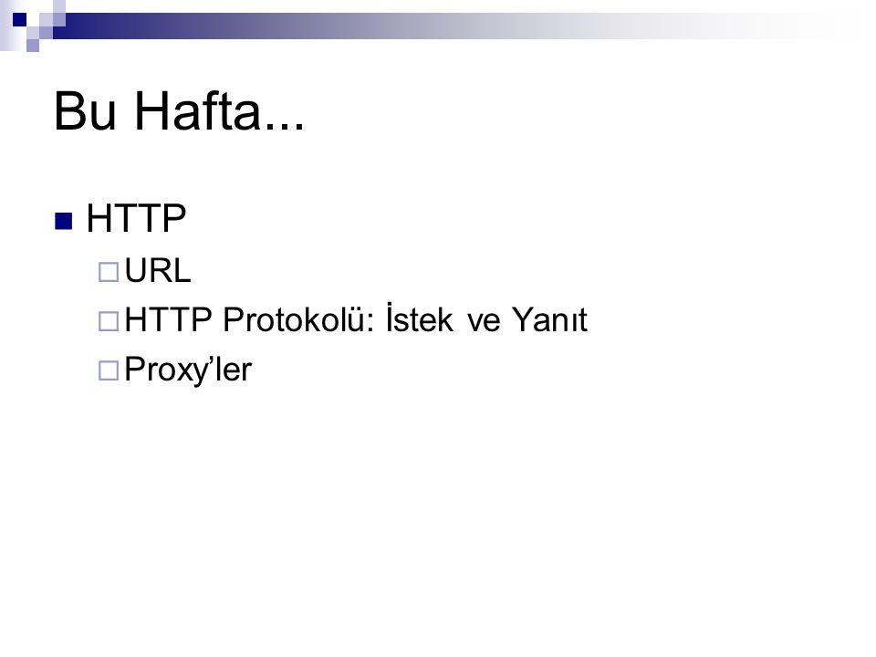 Bu Hafta... HTTP URL HTTP Protokolü: İstek ve Yanıt Proxy'ler