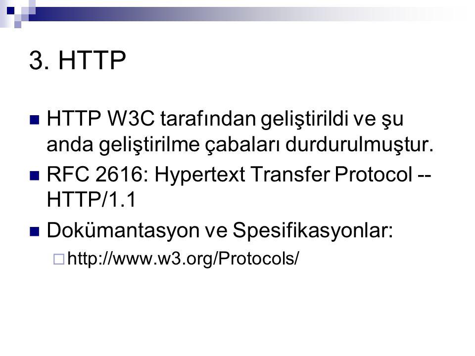3. HTTP HTTP W3C tarafından geliştirildi ve şu anda geliştirilme çabaları durdurulmuştur. RFC 2616: Hypertext Transfer Protocol -- HTTP/1.1.