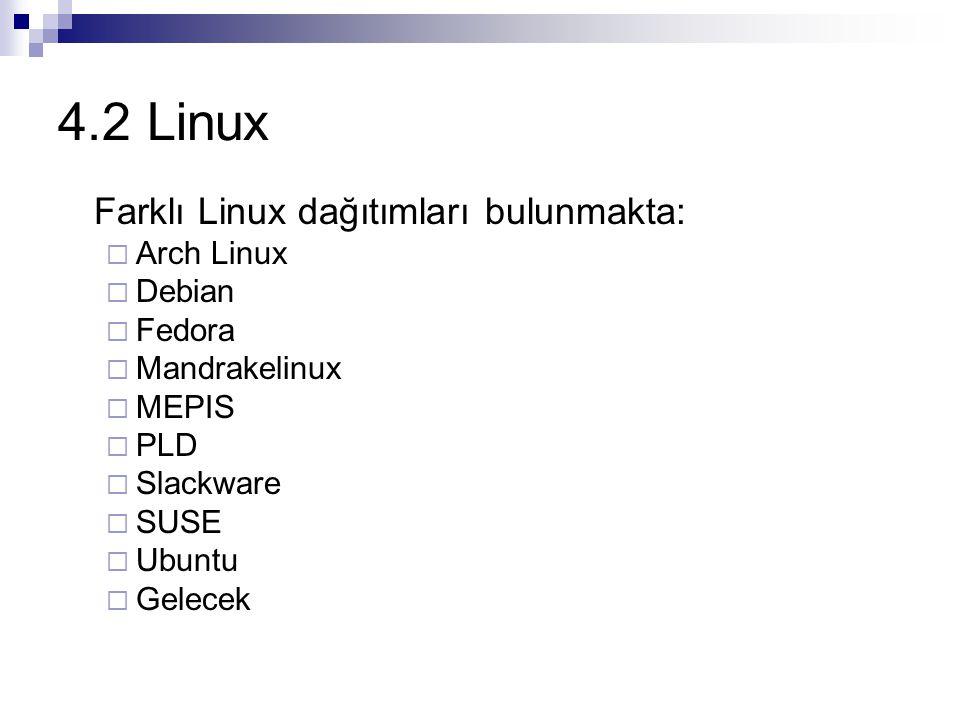 4.2 Linux Farklı Linux dağıtımları bulunmakta: Arch Linux Debian