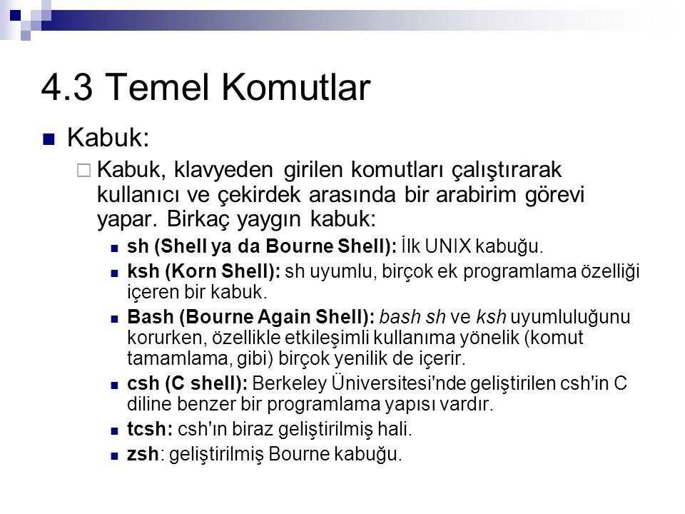 4.3 Temel Komutlar Kabuk: