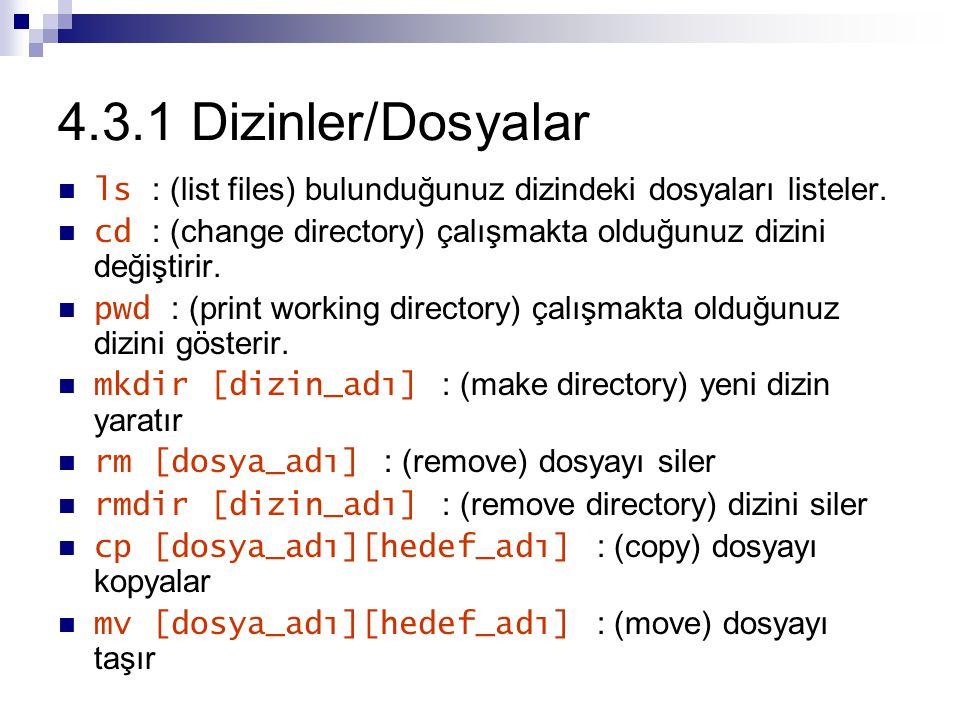 4.3.1 Dizinler/Dosyalar ls : (list files) bulunduğunuz dizindeki dosyaları listeler. cd : (change directory) çalışmakta olduğunuz dizini değiştirir.