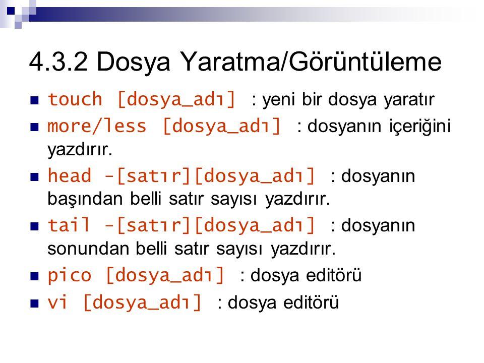 4.3.2 Dosya Yaratma/Görüntüleme