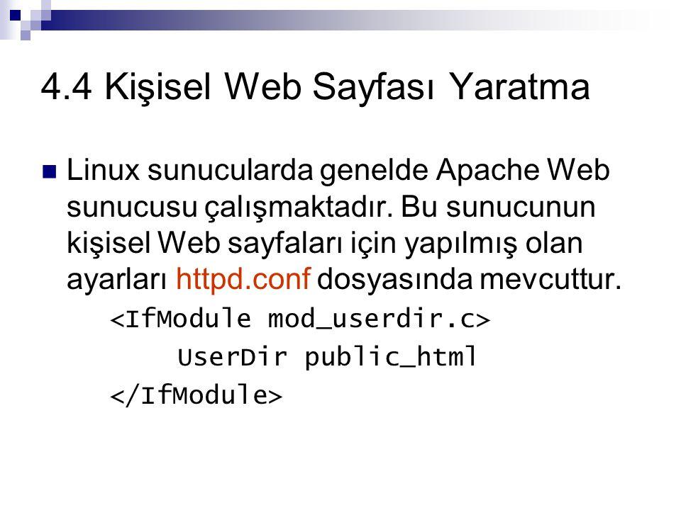 4.4 Kişisel Web Sayfası Yaratma
