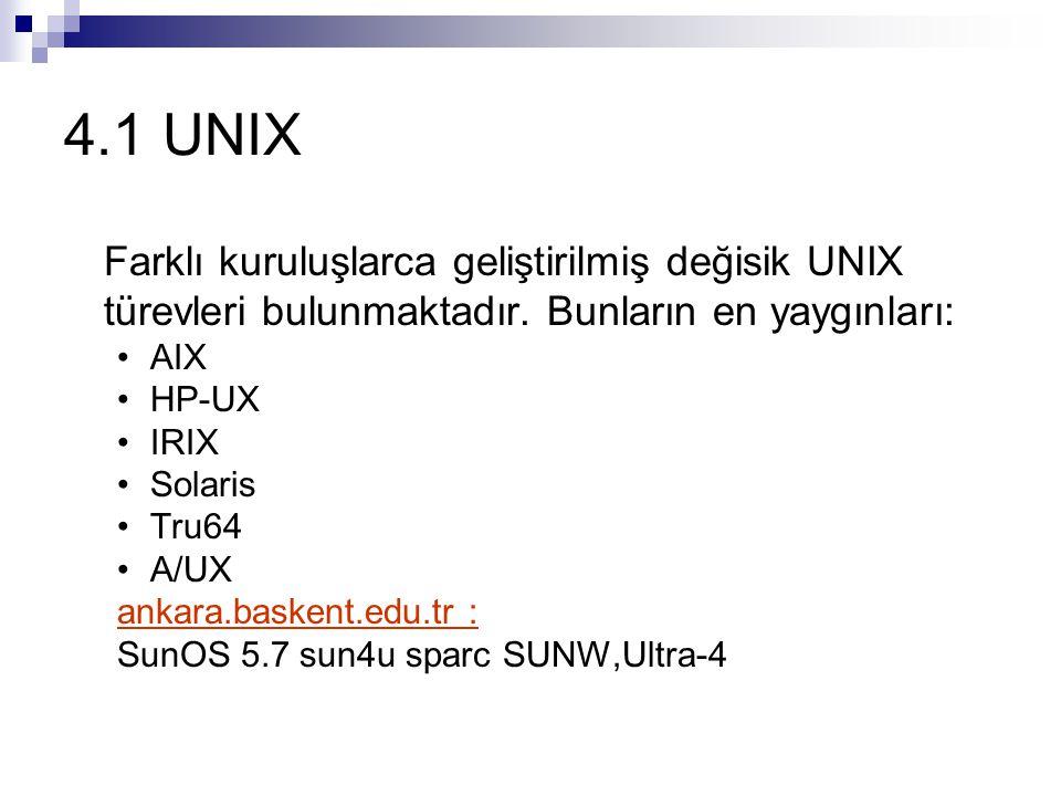 4.1 UNIX Farklı kuruluşlarca geliştirilmiş değisik UNIX türevleri bulunmaktadır. Bunların en yaygınları: