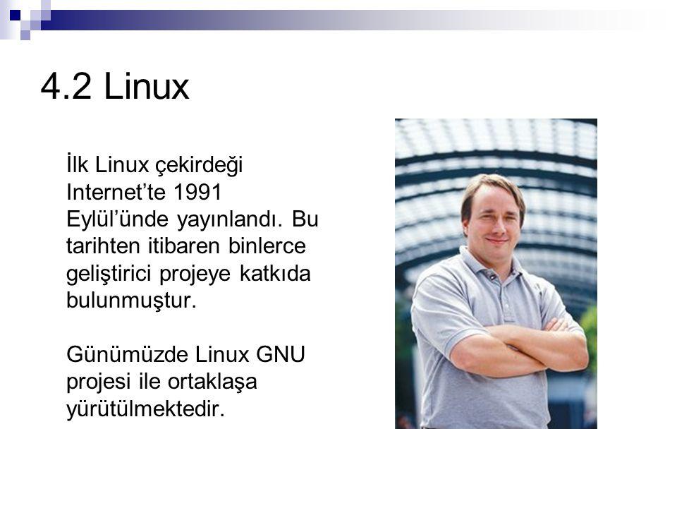 4.2 Linux İlk Linux çekirdeği Internet'te 1991 Eylül'ünde yayınlandı. Bu tarihten itibaren binlerce geliştirici projeye katkıda bulunmuştur.