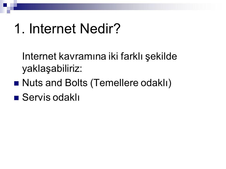 1. Internet Nedir Internet kavramına iki farklı şekilde yaklaşabiliriz: Nuts and Bolts (Temellere odaklı)
