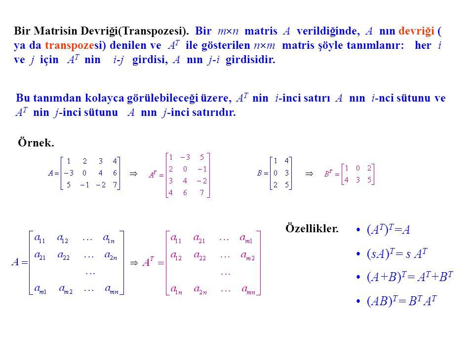 (AT)T=A (sA)T= s AT (A+B)T= AT+BT (AB)T= BT AT