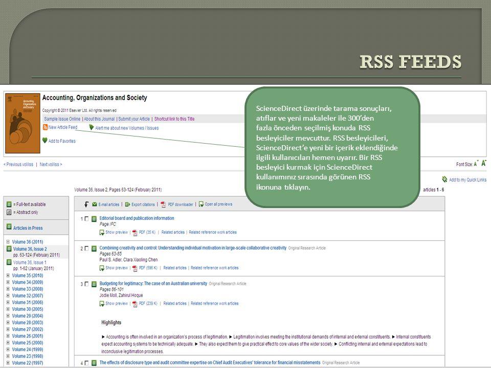 RSS FEEDS ScienceDirect üzerinde tarama sonuçları,