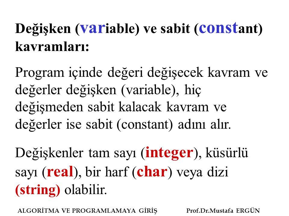 Değişken (variable) ve sabit (constant) kavramları: