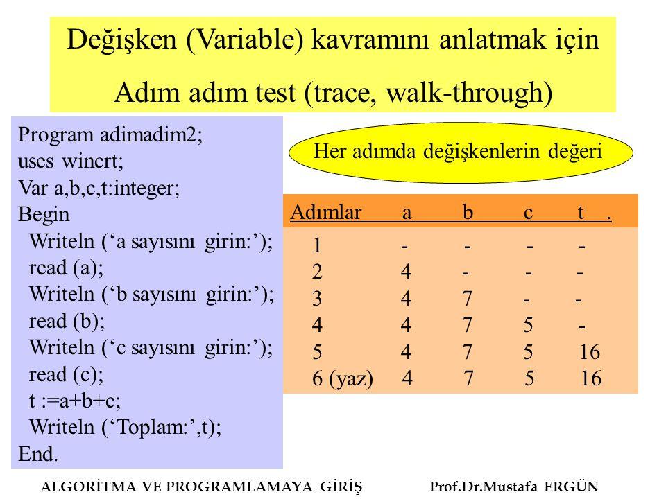 Değişken (Variable) kavramını anlatmak için