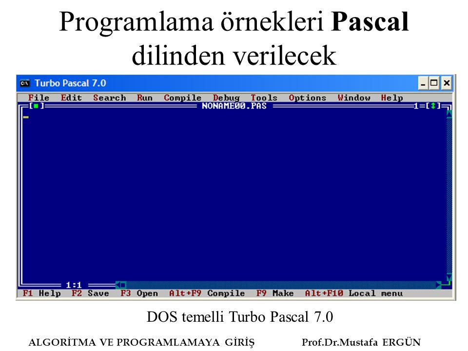 Programlama örnekleri Pascal dilinden verilecek