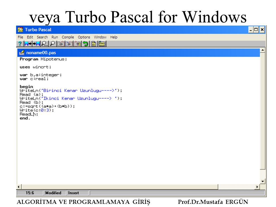 veya Turbo Pascal for Windows