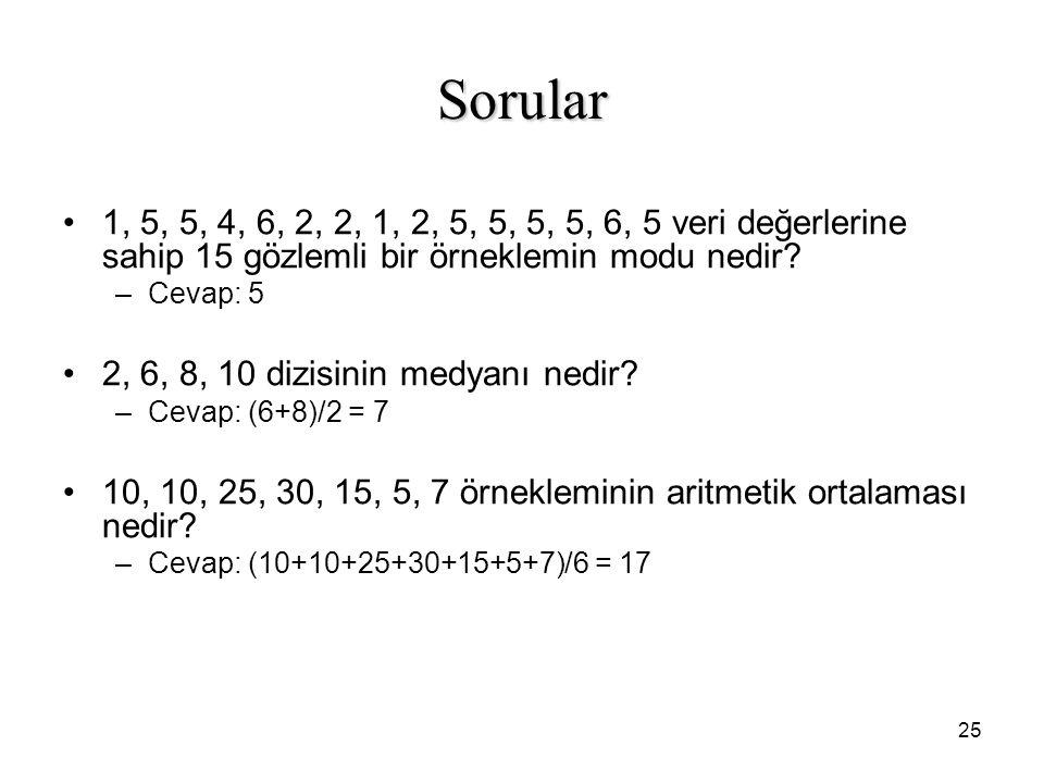 Sorular 1, 5, 5, 4, 6, 2, 2, 1, 2, 5, 5, 5, 5, 6, 5 veri değerlerine sahip 15 gözlemli bir örneklemin modu nedir