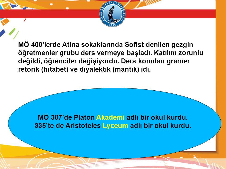 MÖ 387'de Platon Akademi adlı bir okul kurdu.