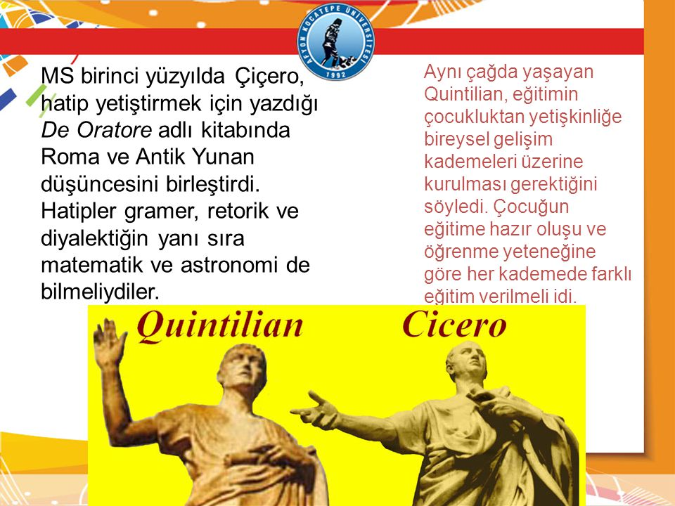 MS birinci yüzyılda Çiçero, hatip yetiştirmek için yazdığı De Oratore adlı kitabında Roma ve Antik Yunan düşüncesini birleştirdi. Hatipler gramer, retorik ve diyalektiğin yanı sıra matematik ve astronomi de bilmeliydiler.