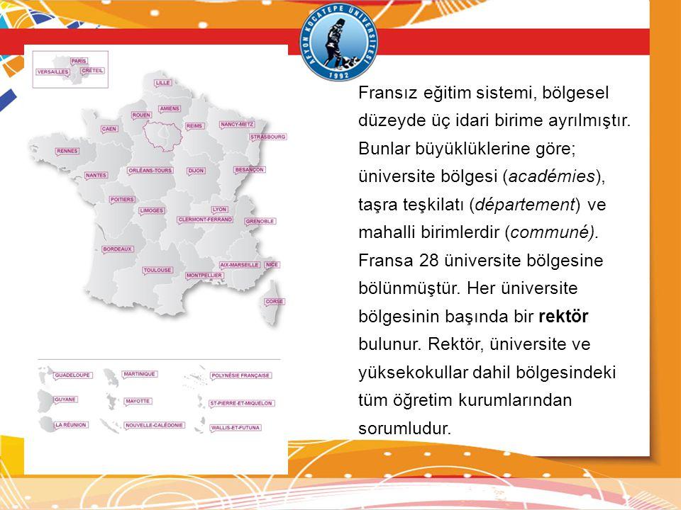 Fransız eğitim sistemi, bölgesel düzeyde üç idari birime ayrılmıştır