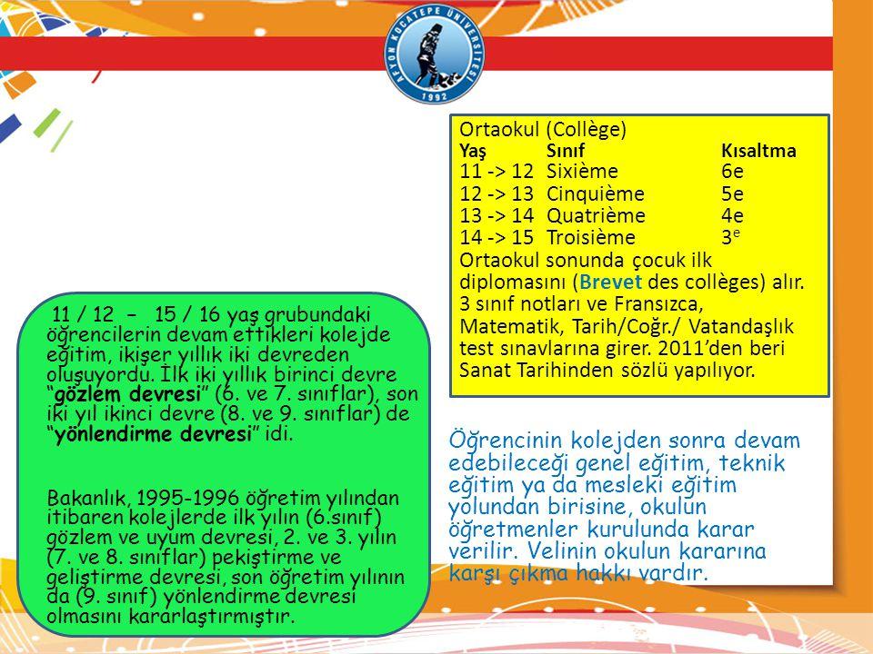 Ortaokul (Collège) 11 -> 12 Sixième 6e 12 -> 13 Cinquième 5e