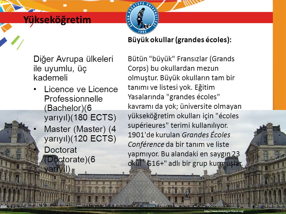 Yükseköğretim Diğer Avrupa ülkeleri ile uyumlu, üç kademeli