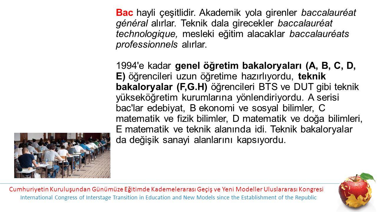 Bac hayli çeşitlidir. Akademik yola girenler baccalauréat général alırlar. Teknik dala girecekler baccalauréat technologique, mesleki eğitim alacaklar baccalauréats professionnels alırlar. 1994 e kadar genel öğretim bakaloryaları (A, B, C, D, E) öğrencileri uzun öğretime hazırlıyordu, teknik bakaloryalar (F,G.H) öğrencileri BTS ve DUT gibi teknik yükseköğretim kurumlarına yönlendiriyordu. A serisi bac lar edebiyat, B ekonomi ve sosyal bilimler, C matematik ve fizik bilimler, D matematik ve doğa bilimleri, E matematik ve teknik alanında idi. Teknik bakaloryalar da değişik sanayi alanlarını kapsıyordu.