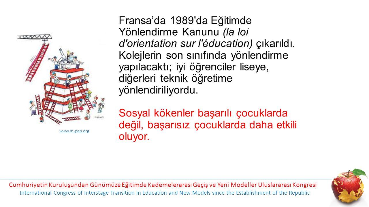 Fransa'da 1989 da Eğitimde Yönlendirme Kanunu (la loi d orientation sur l éducation) çıkarıldı. Kolejlerin son sınıfında yönlendirme yapılacaktı; iyi öğrenciler liseye, diğerleri teknik öğretime yönlendiriliyordu. Sosyal kökenler başarılı çocuklarda değil, başarısız çocuklarda daha etkili oluyor.