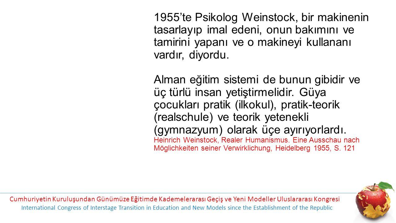 1955'te Psikolog Weinstock, bir makinenin tasarlayıp imal edeni, onun bakımını ve tamirini yapanı ve o makineyi kullananı vardır, diyordu. Alman eğitim sistemi de bunun gibidir ve üç türlü insan yetiştirmelidir. Güya çocukları pratik (ilkokul), pratik-teorik (realschule) ve teorik yetenekli (gymnazyum) olarak üçe ayırıyorlardı. Heinrich Weinstock, Realer Humanismus. Eine Ausschau nach Möglichkeiten seiner Verwirklichung, Heidelberg 1955, S. 121