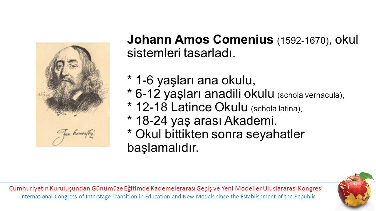 Johann Amos Comenius (1592-1670), okul sistemleri tasarladı