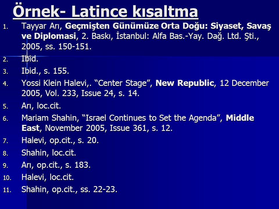 Örnek- Latince kısaltma