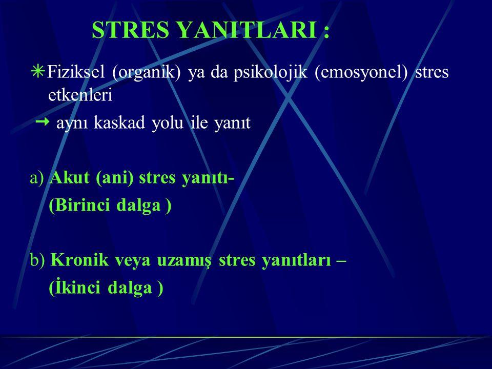 STRES YANITLARI : Fiziksel (organik) ya da psikolojik (emosyonel) stres etkenleri.  aynı kaskad yolu ile yanıt.