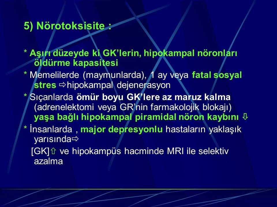 5) Nörotoksisite : * Aşırı düzeyde ki GK'lerin, hipokampal nöronları öldürme kapasitesi.