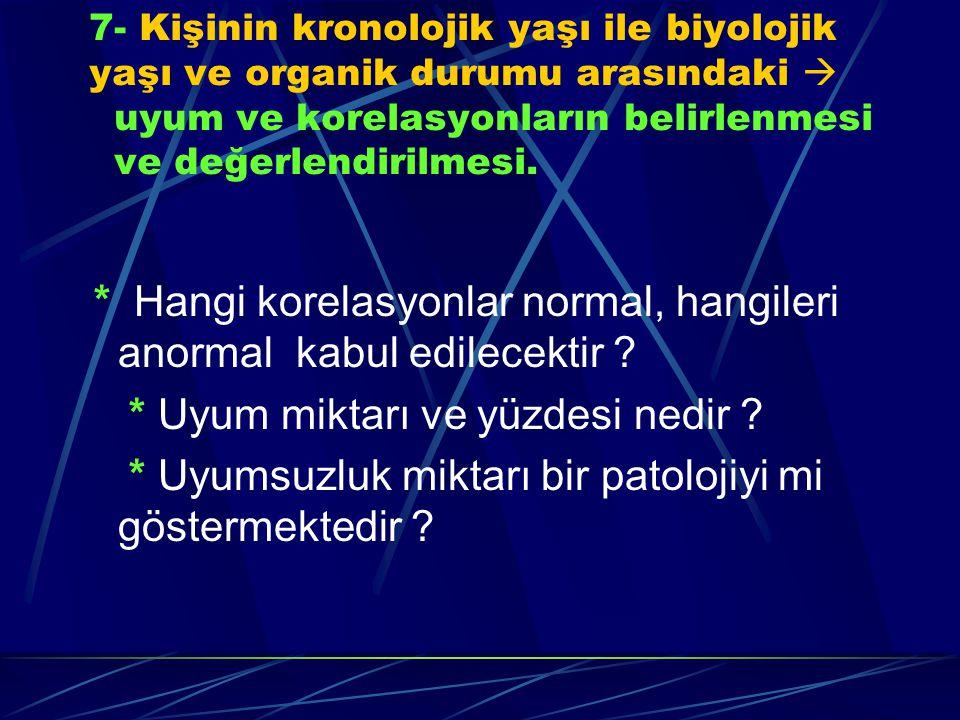 * Hangi korelasyonlar normal, hangileri anormal kabul edilecektir