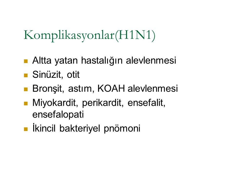 Komplikasyonlar(H1N1) Altta yatan hastalığın alevlenmesi Sinüzit, otit