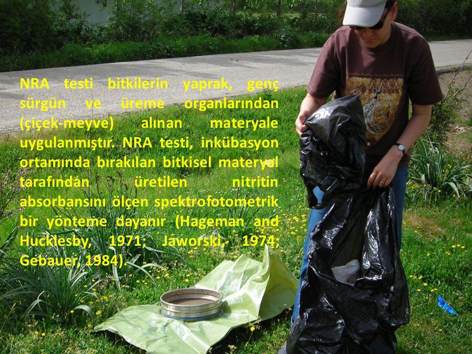 NRA testi bitkilerin yaprak, genç sürgün ve üreme organlarından (çiçek-meyve) alınan materyale uygulanmıştır.