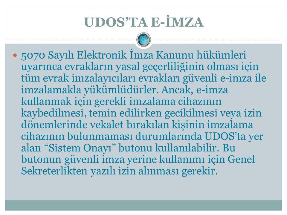 UDOS'TA E-İMZA