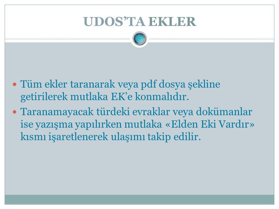UDOS'TA EKLER Tüm ekler taranarak veya pdf dosya şekline getirilerek mutlaka EK'e konmalıdır.