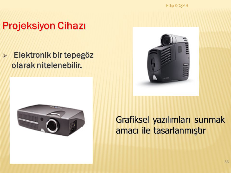 Projeksiyon Cihazı Elektronik bir tepegöz olarak nitelenebilir.