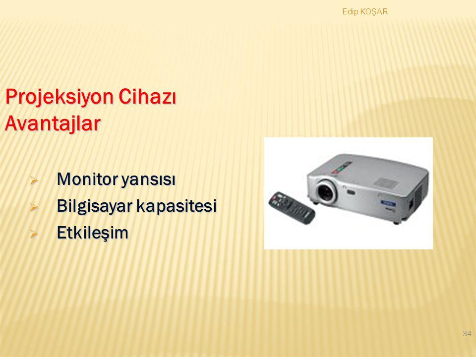 Projeksiyon Cihazı Avantajlar Monitor yansısı Bilgisayar kapasitesi
