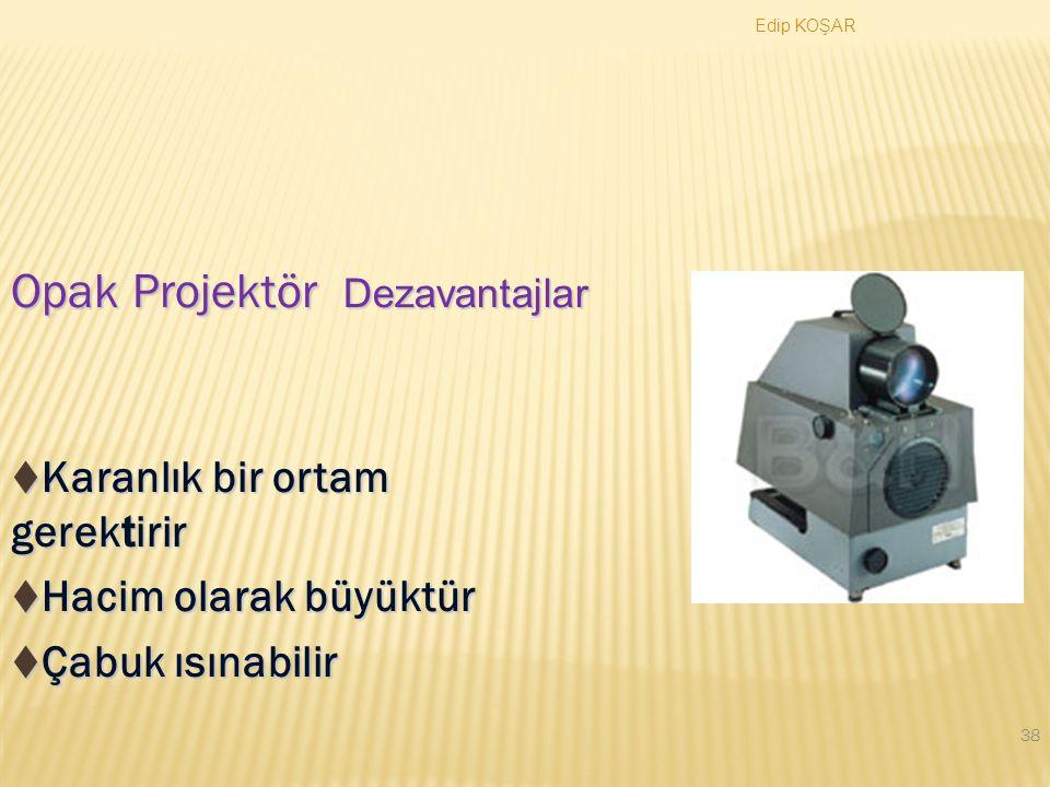 Opak Projektör Karanlık bir ortam gerektirir Hacim olarak büyüktür