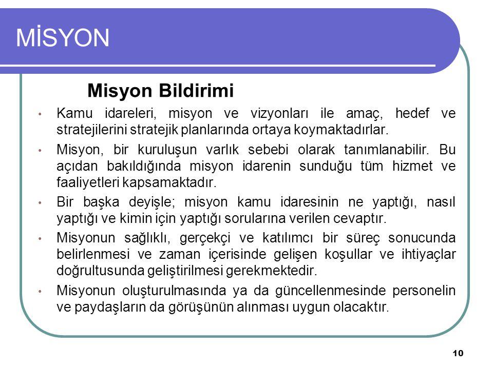 MİSYON Misyon Bildirimi