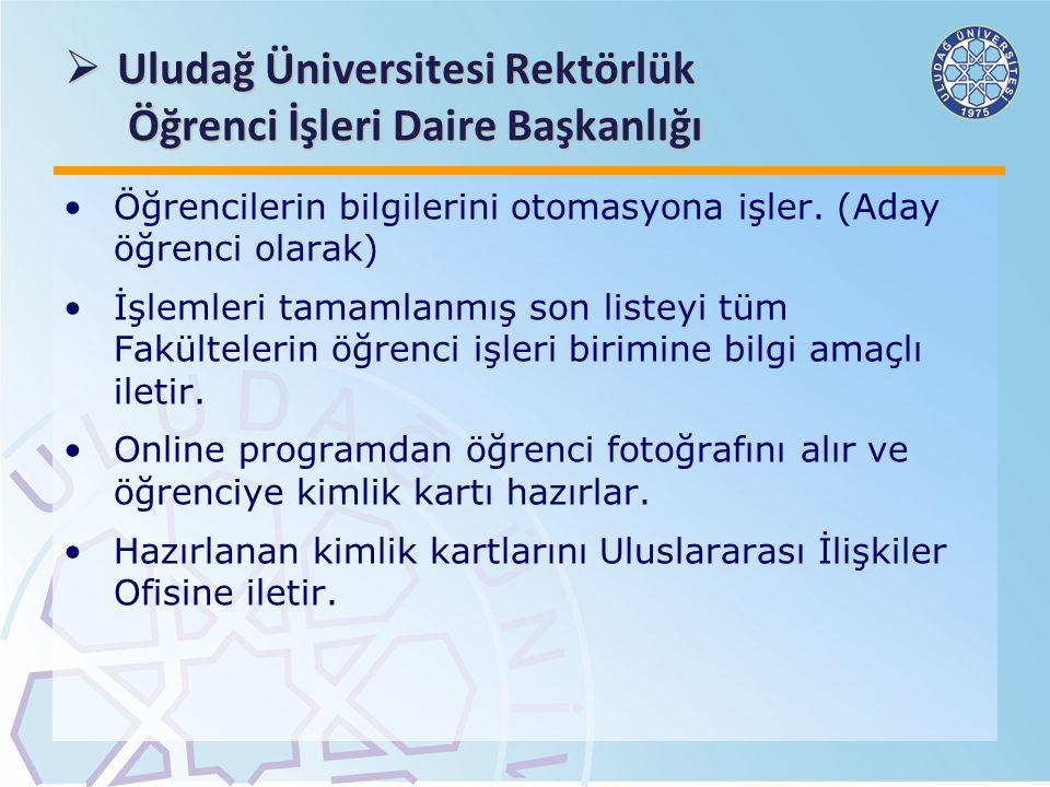 Uludağ Üniversitesi Rektörlük Öğrenci İşleri Daire Başkanlığı