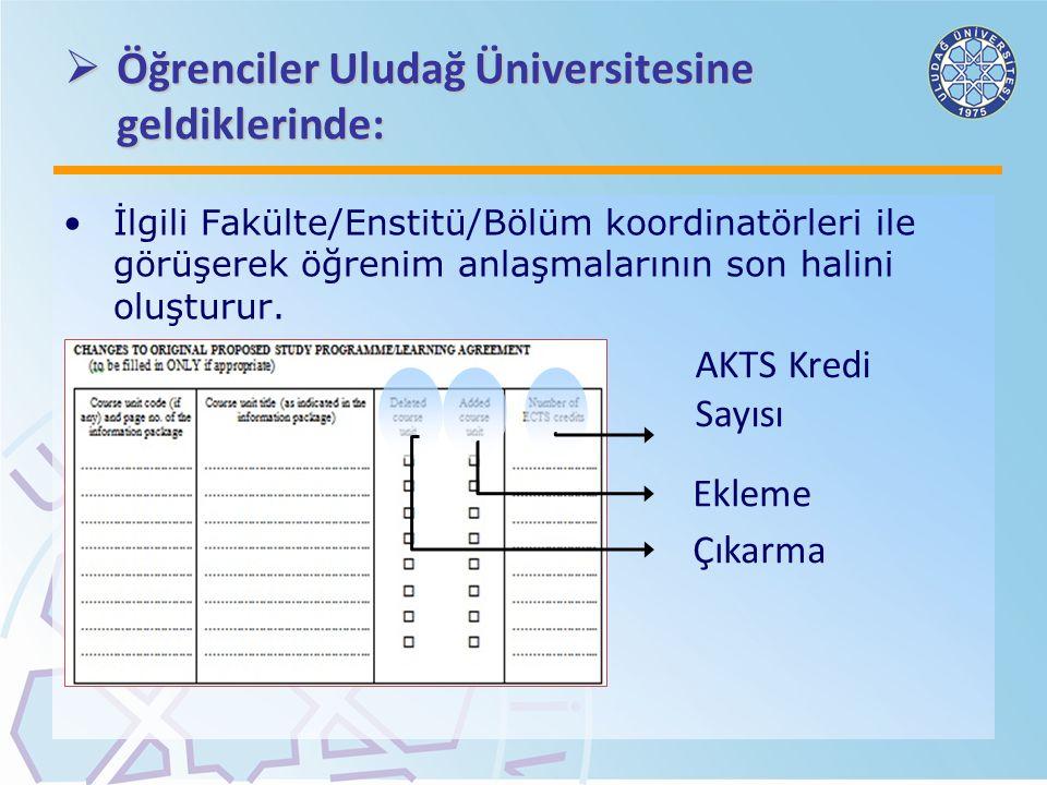 Öğrenciler Uludağ Üniversitesine geldiklerinde: